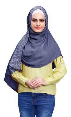 Justkartit Embroidery Soft Cotton Scarf Hijab For Women (Denim)