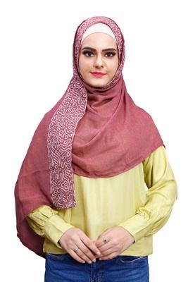 Justkartit Women Soft Cotton Embroidery Scarf Hijab Dupatta (Gajri)