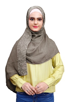 Justkartit Embroidery Soft Cotton Scarf Hijab For Women (Olivegrey)