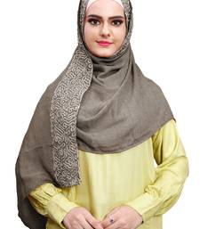 Justkartit Embroidery Soft Cotton Scarf Hijab For Women (Olivegrey)