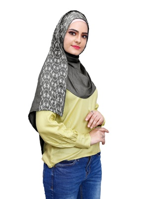 Justkartit Embroidery Soft Cotton Scarf Hijab For Women (Grey)