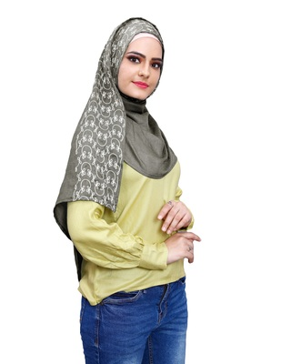 Justkartit Metallic Grey Color Women Rayon Cotton Embroidery Scarf Hijab Dupatta