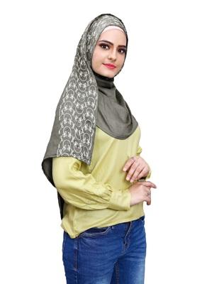 Justkartit Metallic Grey Color Women Rayon Cotton Embroidery Scarf Hijab Dupatta