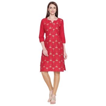 Red Gold Print Cotton Kurta For Women
