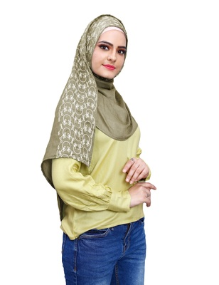 Justkartit Casual Wear Embroidery Soft Cotton Scarf Hijab For Women