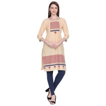 Beige and Blue Geometric Printed Cotton Kurta For Wome