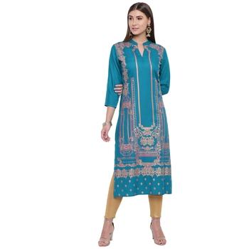 Turquoise printed rayon kurtas-and-kurtis