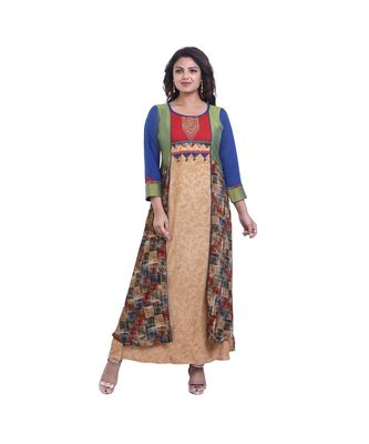 Beige Embroidered Long Kurta For Women