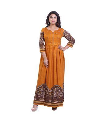 Gold Printed Long Anarkali  For Women