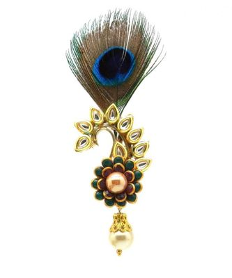 Gold Plated Peacock Feather Brooch For Men