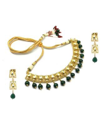 Radhesh Creation Jewellery Gold Plated Kundan Necklace Jewellery Set For Women