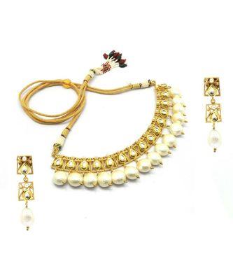 Radhesh Creation Jewellery Gold Plated Kundan Necklace Jewellery Set For Women