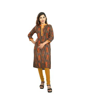 Mustard Printed Kurti For Women