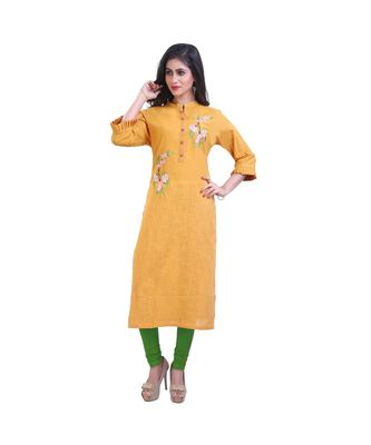 Mustard Slubbish Kurta For Women