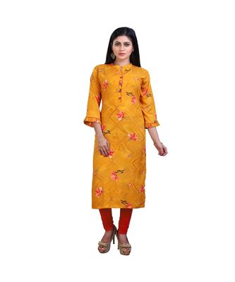 Mustard Printed Kurta For Women