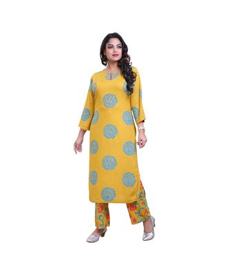 Mustard printed kurta & Palazzo For Women