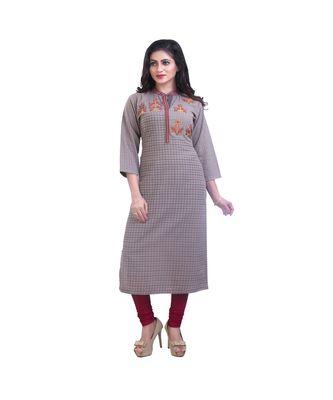 Khaki Embroidered kurta For Women