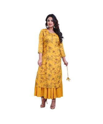 Mustard Attached Kurta With Jacket For Women