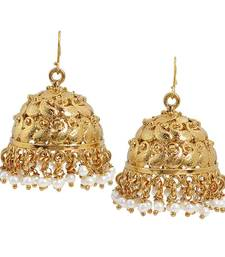 Buy Pearl Gold Temple Jhumki Earrings jhumka online