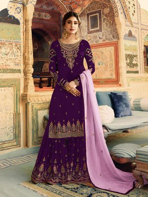 Purple Faux Georgette Fancy Sharara Suit