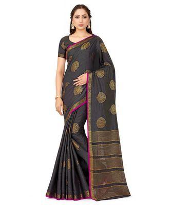 grey woven tussar silk saree with blouse