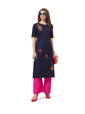 Navy-blue embroidered silk embroidered-kurtis