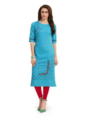 Sky-blue embroidered silk embroidered-kurtis
