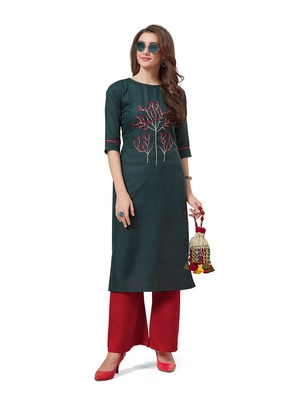 Dark-green embroidered silk embroidered-kurtis