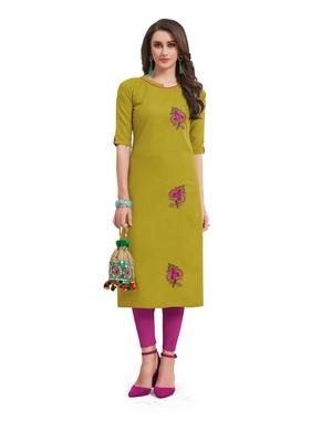 Green embroidered silk embroidered-kurtis
