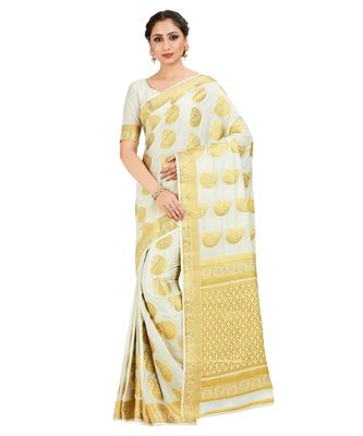 Off White Woven Crepe Saree With Blouse