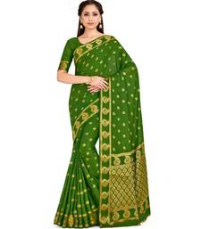 Green Woven Crepe Saree With Blouse