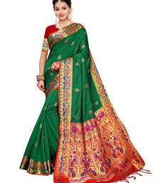 Green Woven Poly Silk Saree With Blouse