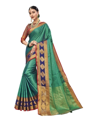 Turquoise woven tissue saree with blouse