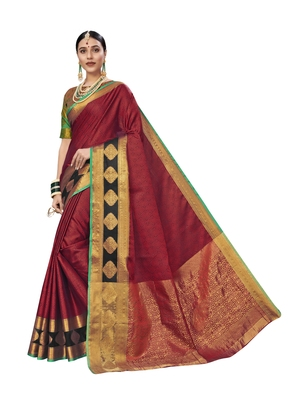 Maroon Woven Tissue Saree With Blouse
