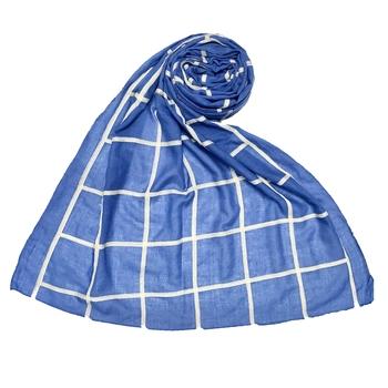 Blue Stole For Women  Premium Cotton Grid Hijab
