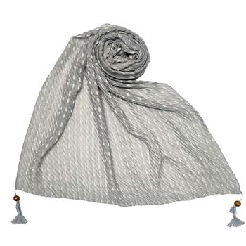 Grey Stole For Women  Premium Cotton Hand Work Thread Hijab
