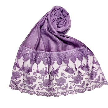 Purple  Stole For Women  Premium Cotton  Double Bordered Fringe's Hijab