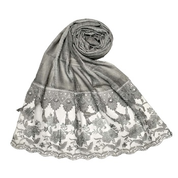 Grey Stole For Women  Premium Cotton  Double Bordered Fringe's Hijab