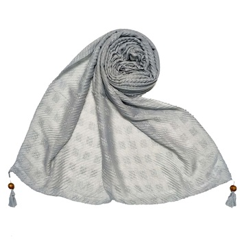 Grey  Stole For Women  Designer Cotton Puff Checkered Stole's