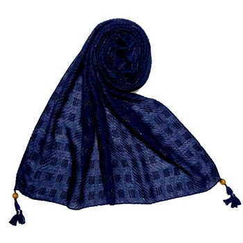 Blue  Stole For Women  Designer Cotton Puff Checkered Stole's