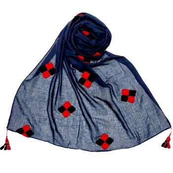 Blue  Stole For Women  Premium Cotton  Designer Square Hand Work Patche's All Over Stole