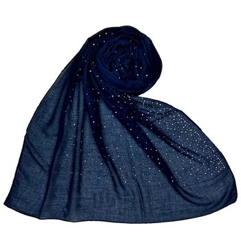 Blue  Stole For Women  Cotton Dew Dew Drop Diamond Studed All Over Stole