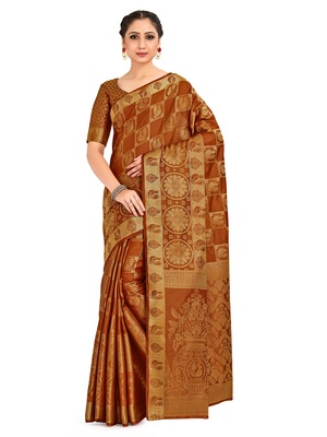 Rust Woven Art Silk Saree With Blouse