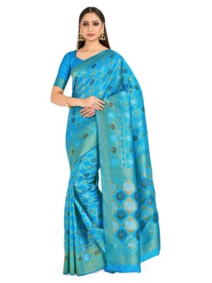 Turquoise Woven Art Silk Saree With Blouse