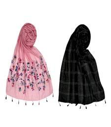 Premium Cotton Designer Ari Stole And Hand Work White Threaded Grid Hijab
