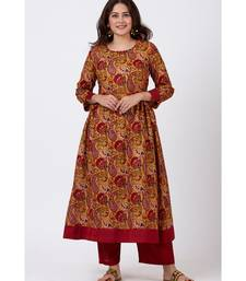 Mustard Paisley Printed Kurti with Straight Oxy Red Palazzo