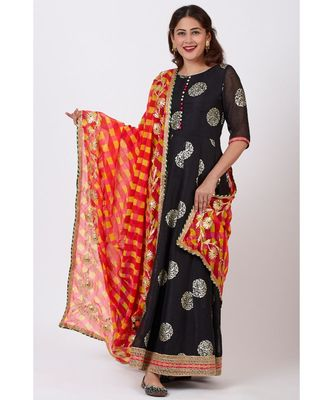 Black Jewel Foil Printed Floorlength Kurti and Pink Red Yellow Mothra Gotta work Dupatta