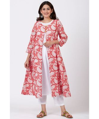 Red Paisley Printed A-line Side Gathered Kurti with Straight White Pants