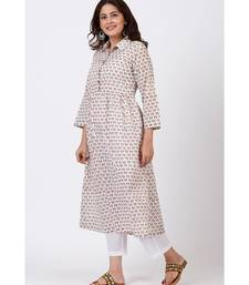 Ivory Printed Flared Cotton Kurti with Gathers and Straight White Pants