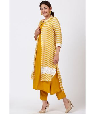 Mustard Yellow A-Line Kurti with Crochet Jacket and Straight Pants